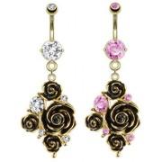 Piercing nombril doré bouquet de roses élégantes