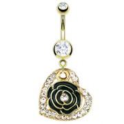 Piercing nombril doré coeur pavé de pierres et rose noire
