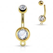 Piercing nombril doré en acier à boules serties et anneau à pendentif