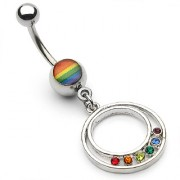 Piercing nombril double cercle Gaypride serti