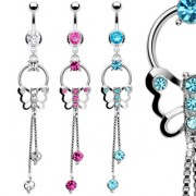 Piercing nombril Double Chain Butterfly