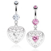 Piercing nombril double coeur à arabesques