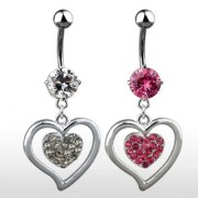 Piercing nombril double-coeur pavé