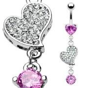 Piercing nombril double coeur rose et clair
