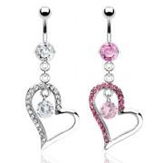 Piercing nombril double-pendentif coeur