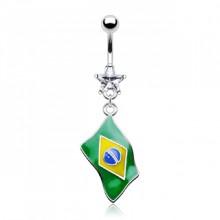 Piercing nombril drapeau Brésil