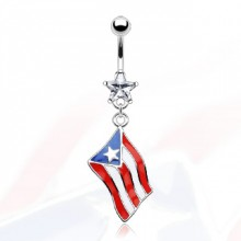 Piercing nombril drapeau Porto Rico