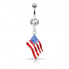 Piercing nombril drapeau USA