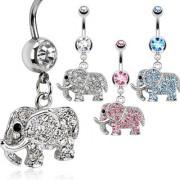 Piercing nombril éléphant pavé de pierres