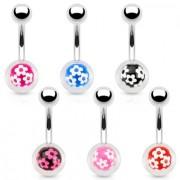 Piercing nombril en acier avec boule à imprimés fleurs