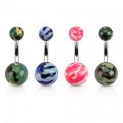 Piercing nombril en acier avec boules acrylique camouflage