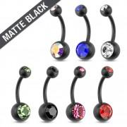 Piercing nombril en acier noir mat à boules serties