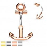 Piercing nombril en forme d'ancre de marine