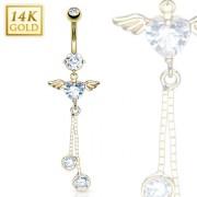 Piercing nombril en or 14 carats à coeur avec ailes d'ange