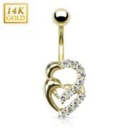 Piercing nombril en or 14 carats à coeurs croisés avec zirconiums