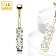 Piercing nombril en or 14 carats avec barette zirconium
