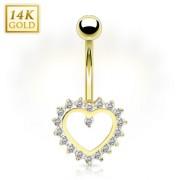Piercing nombril en or 14 carats avec coeur à contours de gemmes
