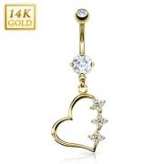 Piercing nombril en or 14 carats avec coeur fleuri