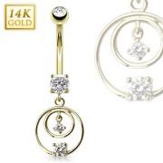 Piercing nombril en or 14 carats avec duo d'anneaux sertis