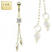 Piercing nombril en or 14 carats avec duo de pendentifs losanges