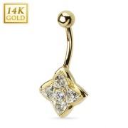 Piercing nombril en or 14 carats avec étoile à quatre branches