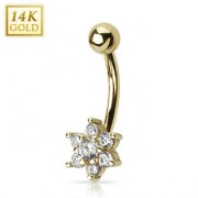 Piercing nombril en or 14 carats avec fleur de zirconium