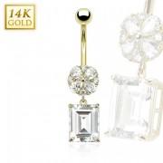 Piercing nombril en or 14 carats avec fleur et pendentif rectangulaire