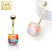 Piercing nombril en or 14 carats avec gemme carrée multicolore