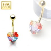 Piercing nombril en or 14 carats avec gemme en coeur multicolore