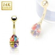 Piercing nombril en or 14 carats avec gemme en goutte multicolore