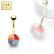 Piercing nombril en or 14 carats avec gemme ronde multicolore
