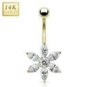 Piercing nombril en or 14 carats avec grande fleur de zirconium