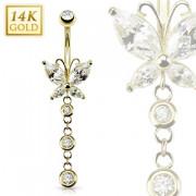Piercing nombril en or 14 carats avec libéllule et bulles
