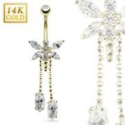 Piercing nombril en or 14 carats avec libéllule et pendentifs