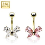 Piercing nombril en or 14 carats avec papillon zirconium