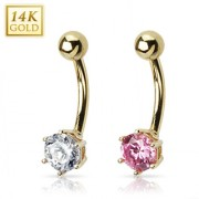 Piercing nombril en or 14 carats serti d'un Zirconium de 6mm
