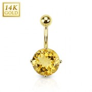 Piercing nombril en or 14 carats serti d'une Citrine
