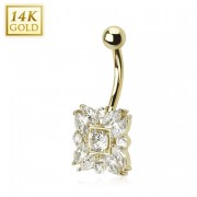 Piercing nombril en or 14 carats style marquise
