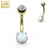Piercing nombril en or jaune 14 carats avec petite Opale synthétique