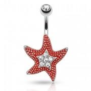 Piercing nombril étoile de mer rouge sertie