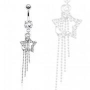 Piercing nombril étoile et petite lune avec chaines