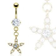 Piercing nombril étoile plaquée or perlée avec Opalite