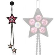 Piercing nombril étoiles noire sertie à chainettes