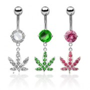 Piercing nombril feuille de cannabis strass