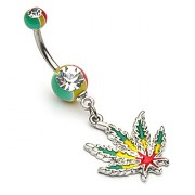 Piercing nombril feuille de cannabis Rasta