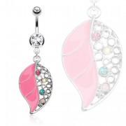 Piercing nombril feuille rose et ajourée pavée de pierres