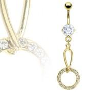 Piercing nombril flèche et anneau dorés