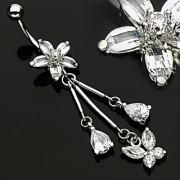 Piercing nombril fleur à cinq pétales puis 3 pendentifs