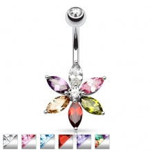 Piercing nombril fleur à pierres taillées en Marquise