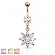 Piercing nombril fleur avec perle et pierres taillées en marquise